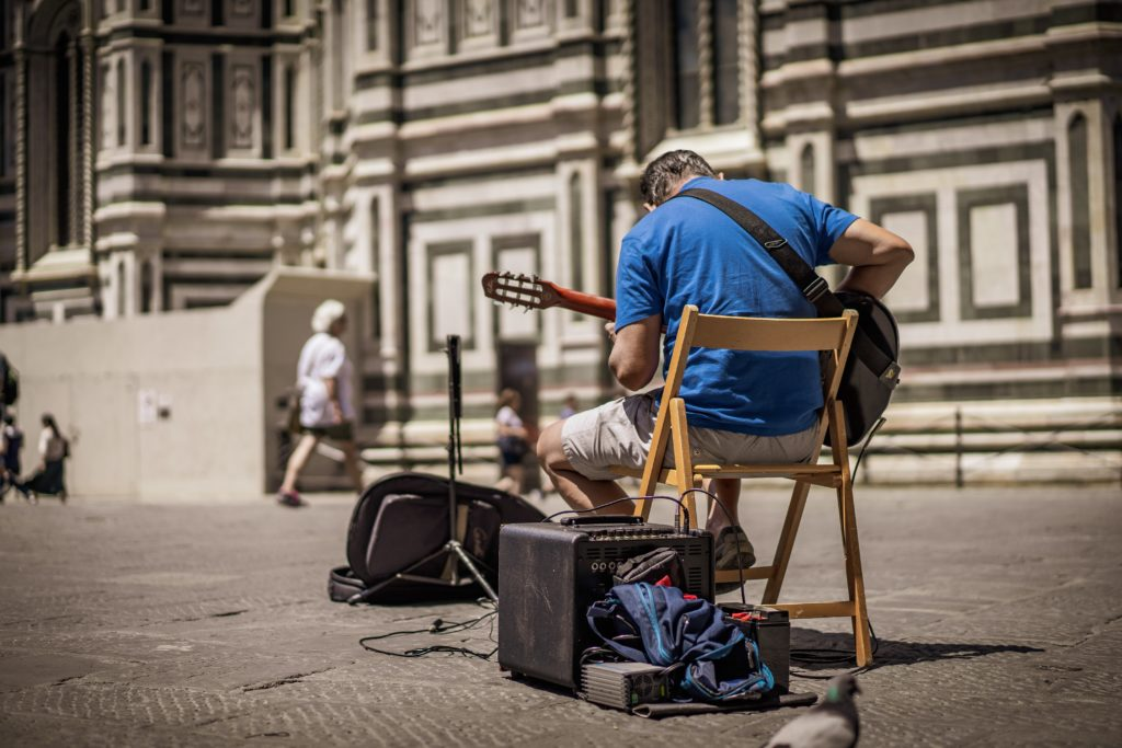a man performing on the street